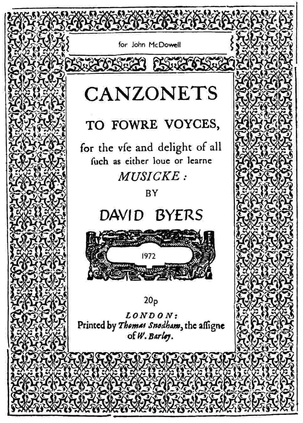 David Byers Canzonets title page
