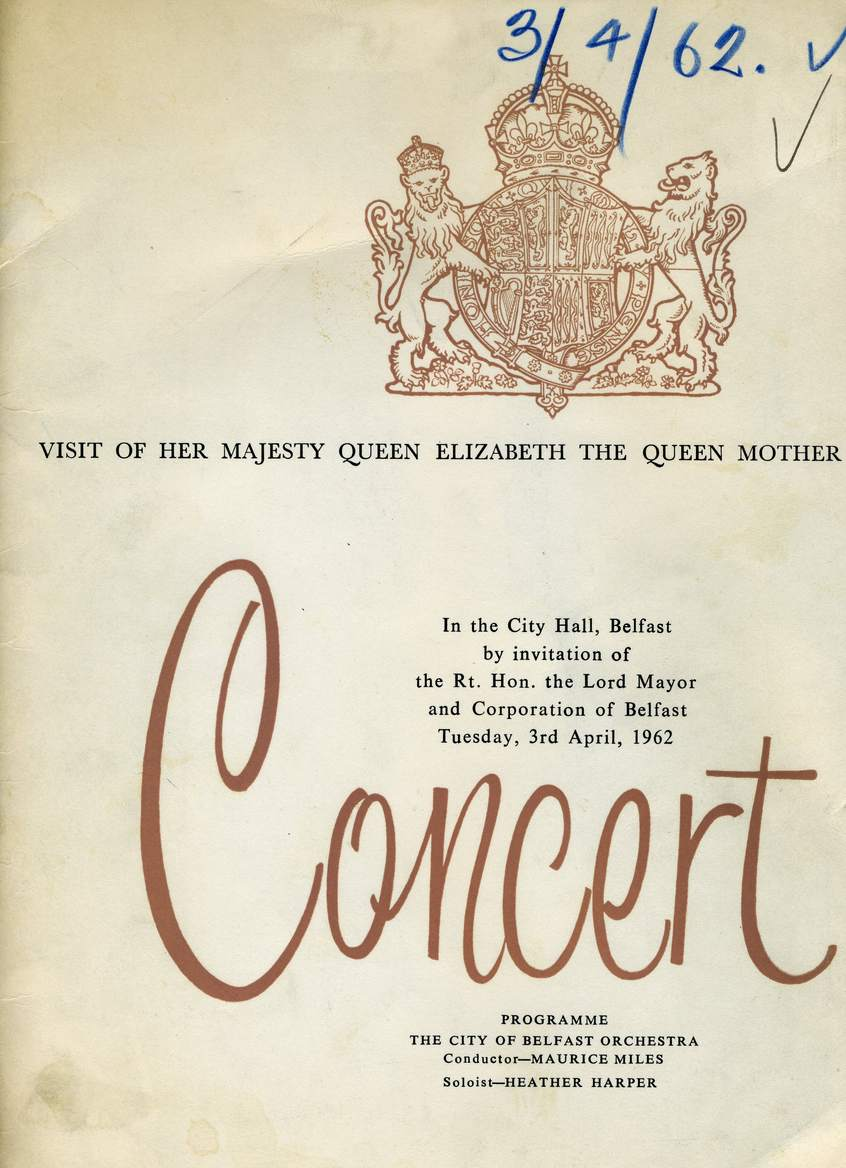 Programme cover for CBO concert, April 1962