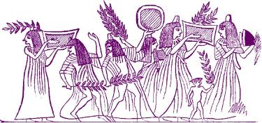 Egyptian ceremonial procession with tambourine