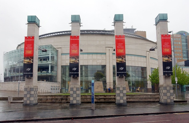Popular Classics banners outside the Waterfront Hall, Belfast