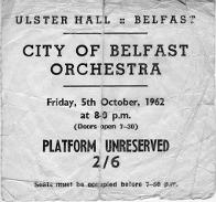 City of Belfast Orchestra ticket, October 1962