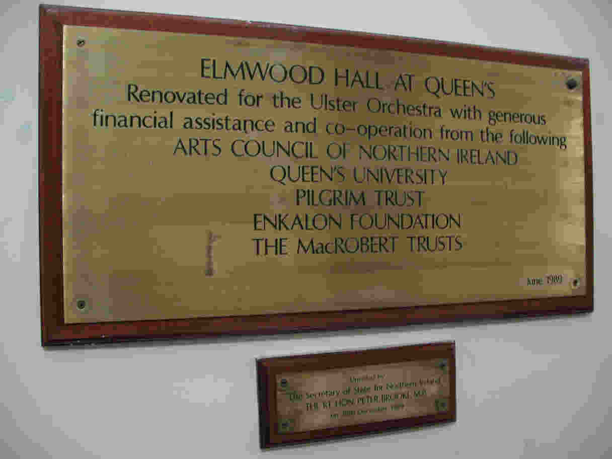 Ulster Orchestra hall plaque