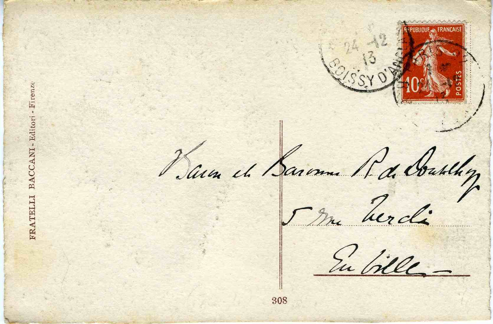 Postal details of Minna Rider's card, 1913