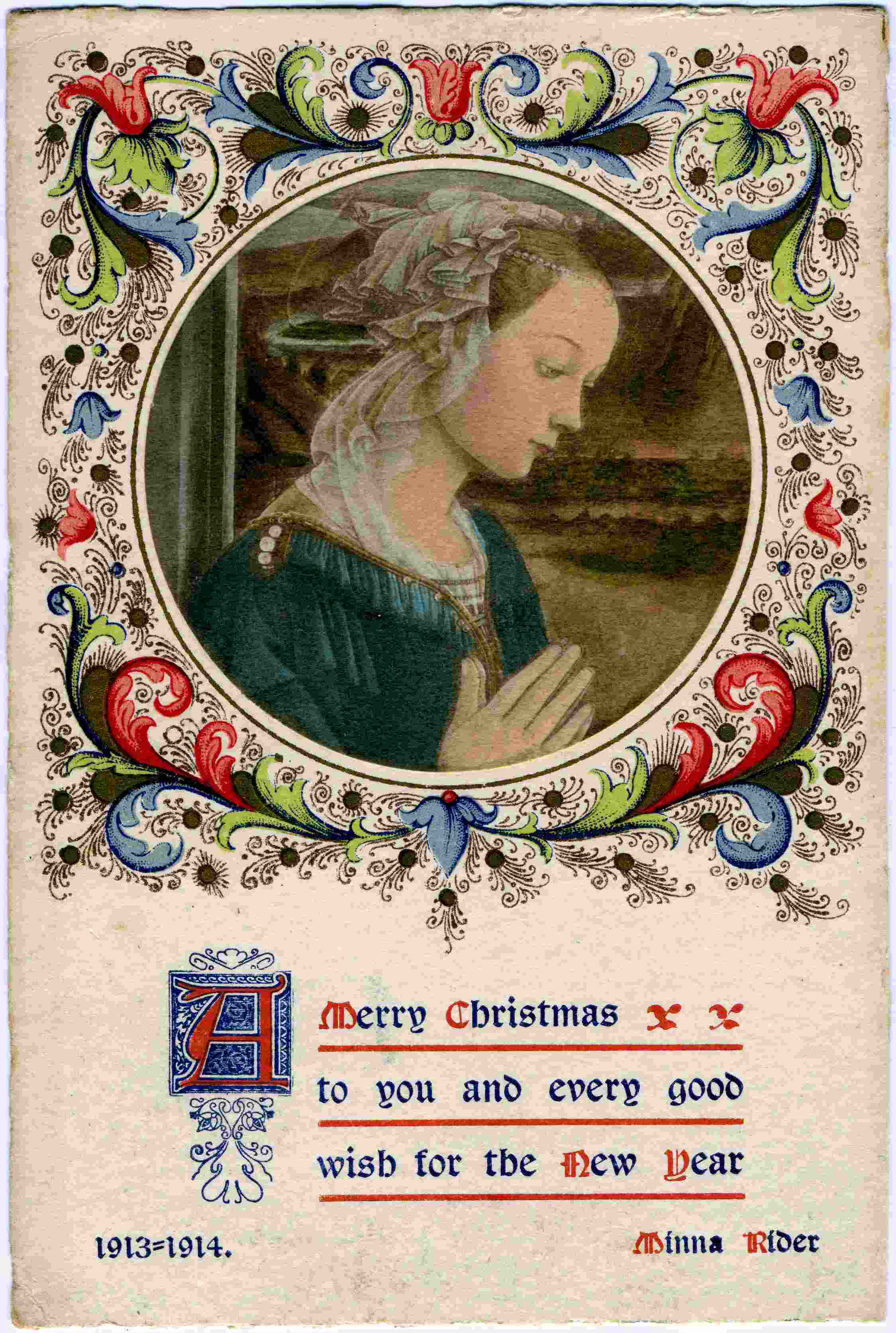 Minna Rider - Christmas Card 1913
