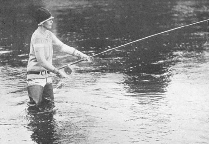 Minna Paget fishing, 1927